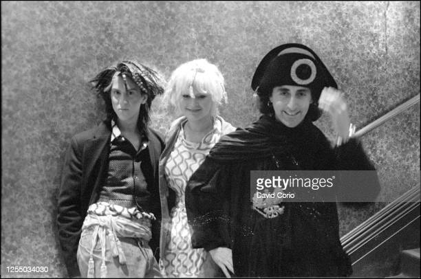 """British socialite and impresario Philip Sallon with others backstage at Vivienne Westwood World's End Fashion show """"Pirates"""", Autumn/Winter 1981-82,..."""