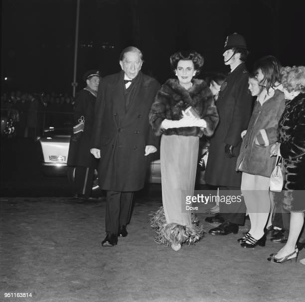 British socialite Margaret Campbell Duchess of Argyll and AmericanBritish industrialist Jean Paul Getty arrive at the premiere of epic romantic drama...