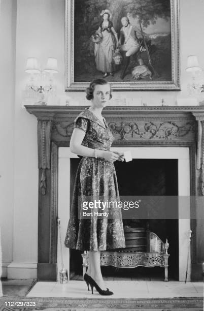 British socialite Margaret Campbell Duchess of Argyll wearing a printed dress UK 6th August 1955 Original Publication Picture Post 7934 Report On The...