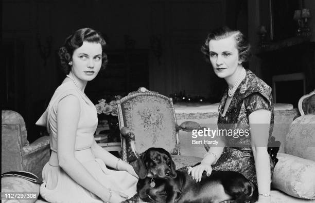 British socialite Margaret Campbell Duchess of Argyll with her daughter Frances Helen Sweeney and a dachshund UK 6th August 1955 Original Publication...