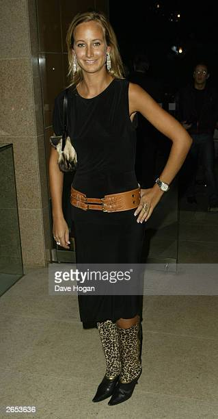 """British socialite Victoria Harvey attends Westlife's """"Unbreakable"""" album launch at the Zuma Restaurant on November 11, 2002 in London."""