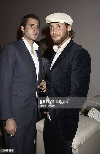 British socialites Anthony De Rothchild and David De Rothchild attend the opening night of 'The Lady From the Sea' at the Almeida Theatre on May 13...