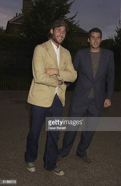 British socialites David and Anthony De Rothschild arrive at the party to celebrate the launch of Hillary Clinton's book 'Hillary' thrown by Lynn De...