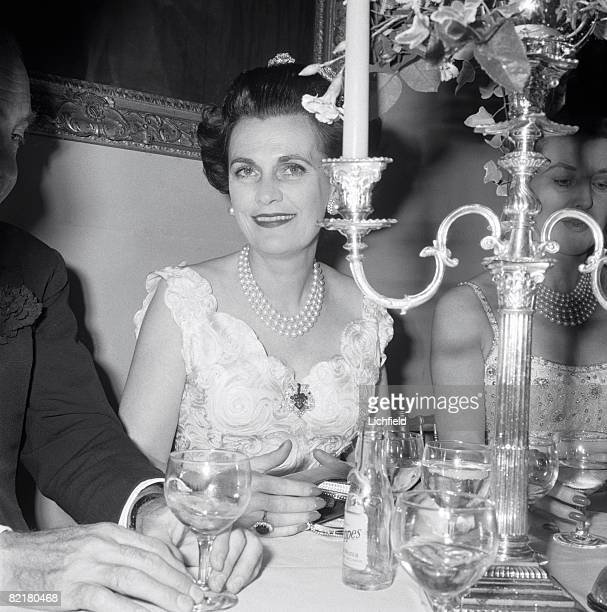 British Society figure Margaret Duchess of Argyll photographed at The Duke of Rutland's Dance at Belvoir Castle on 3rd October 1965