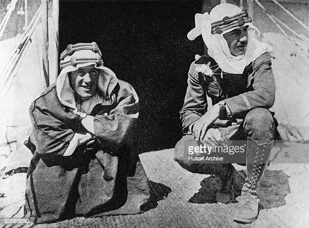 British soldier adventurer and author Thomas Edward Lawrence better known as Lawrence Of Arabia with American broadcaster and explorer Lowell Thomas...