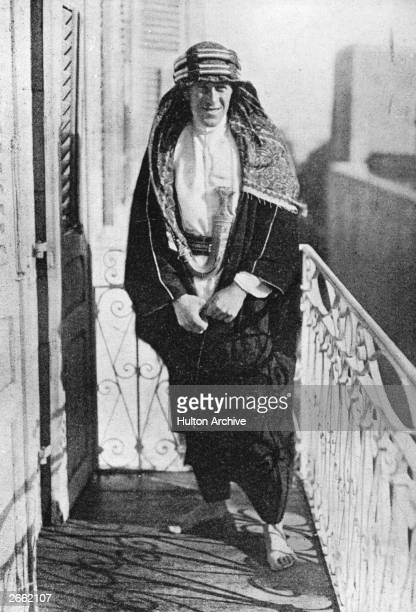 British soldier, adventurer and author Thomas Edward Lawrence the 'Uncrowned King Of The Arabs' on the Governor's Balcony in Jerusalem. He joined the...