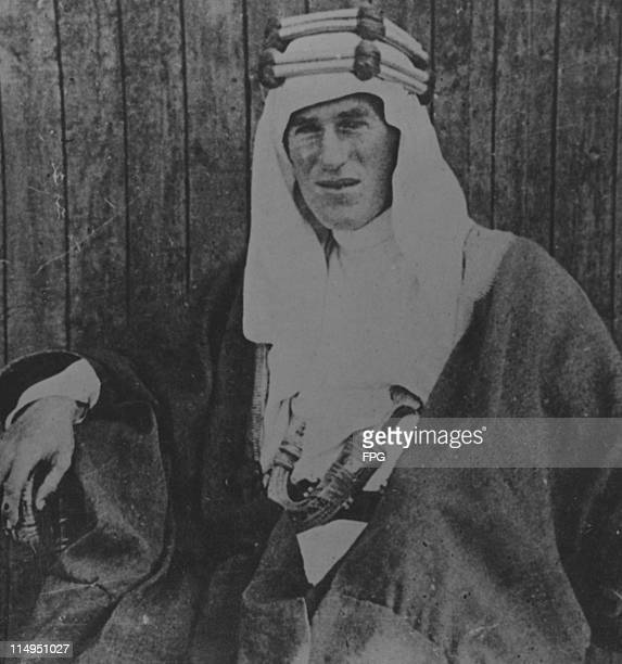 British soldier and writer T E Lawrence in arabic dress circa 1918
