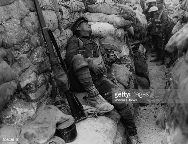 British Soldier asleep in a front line trench Theipval September 1916 British Front France '16 General Battle Somme