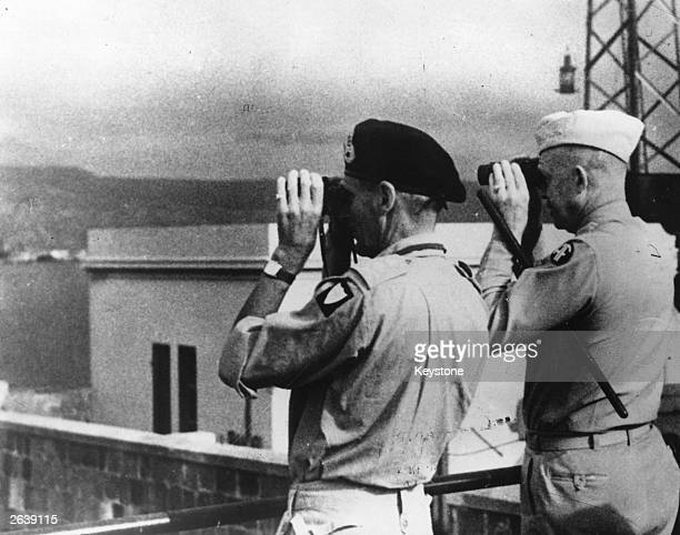 British soldier Field Marshall Bernard L Montgomery commander of the Eighth Army and the American soldier General Dwight D Eisenhower at Messina...