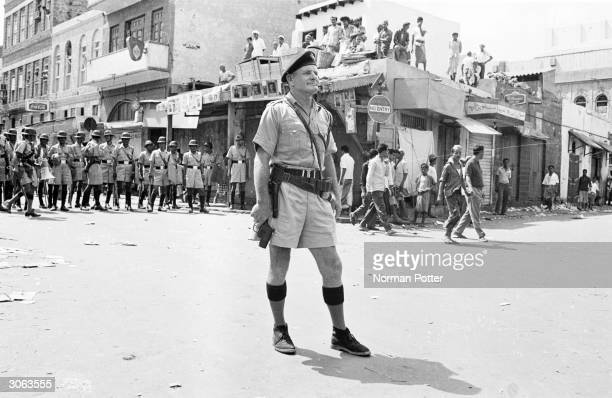 A British soldier in the Crater district of Aden Yemen during a period of civil conflict and rioting 4th October 1965
