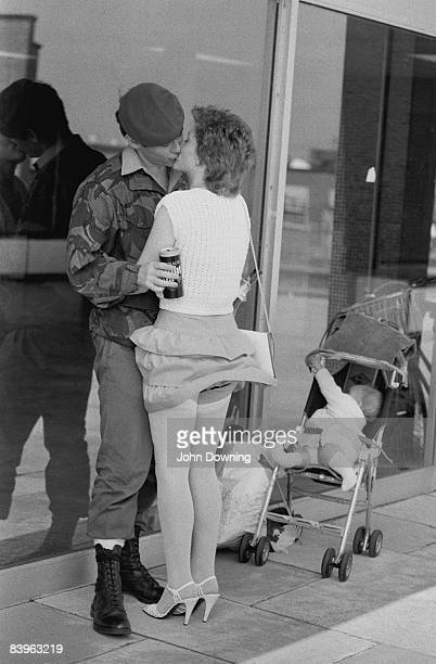 A British soldier is greeted by his partner on his return from the Falklands War 30th July 1982