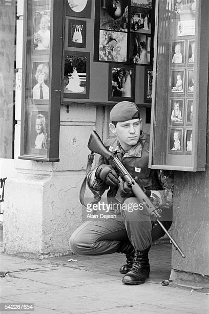 A British soldier patrols a Belfast street during the 'Troubles' two days after the assassination of Lord Mountbatten