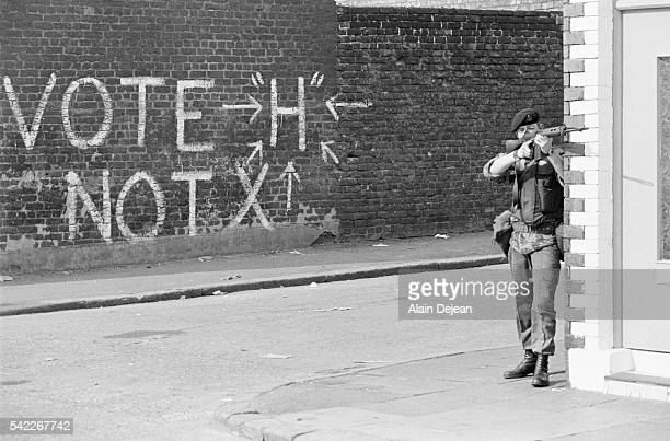 A British soldier patrols the Catholic New Lodge Road area of Belfast during the 'Troubles' two days after the assassination of Lord Mountbatten...