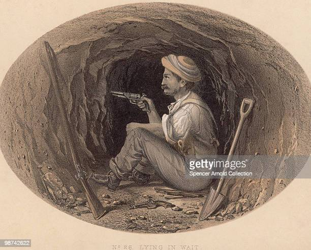 British soldier waits to ambush rebels attempting to tunnel their way into the Residency during the Siege of Lucknow, part of the Indian Rebellion of...