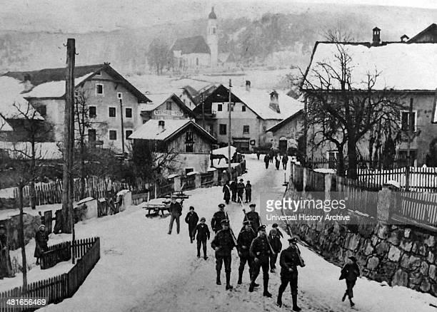 British soldiers arrive in Austria during World War One. 1917.