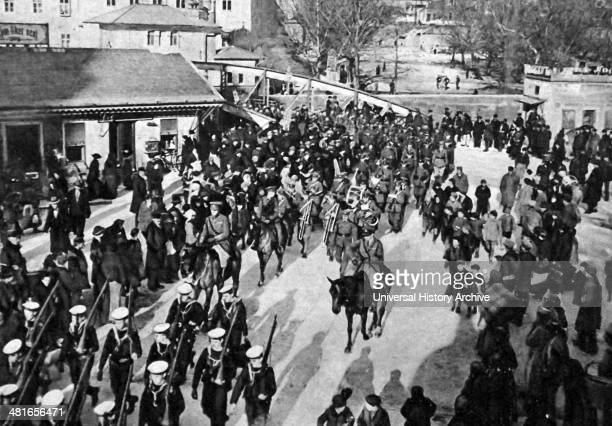 British soldiers arrive in Fiume in 1918 an Austrian Naval Base in World War One..