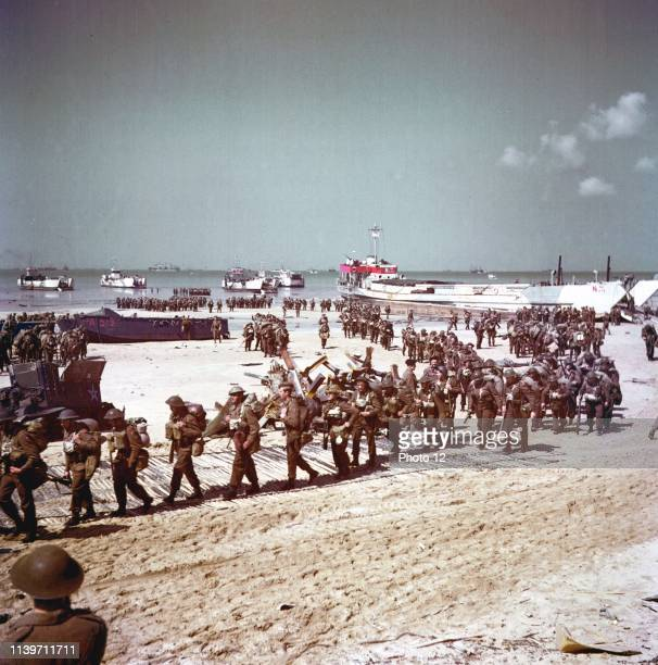 British soldiers at Juno Beach during the World War Two, D-Day landings in France 1944.