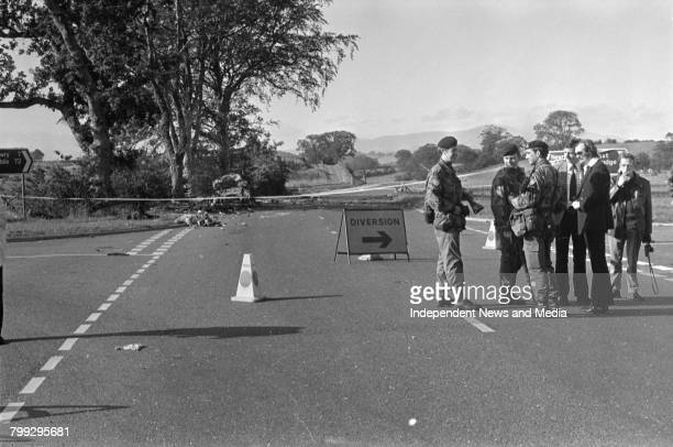 British soldiers at the scene of the Miami Showband Killings on the A1 road at Buskhill in County Down Northern Ireland 31st July 1975 The attack was...