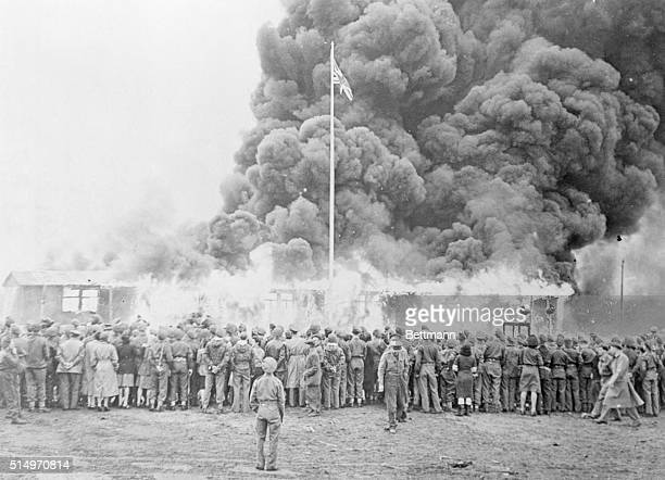 British Soldiers Burning Belsen's Barracks 1945