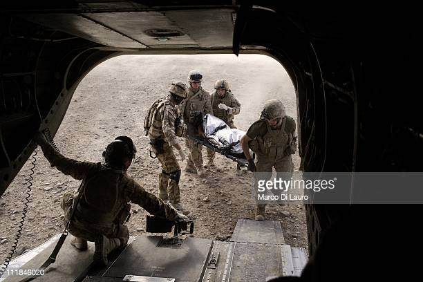 British soldiers carry on a stretcher into the MERT CH47 Chinook helicopter an allegedly suspected Taliban fighter with fragmentation wounds to his...