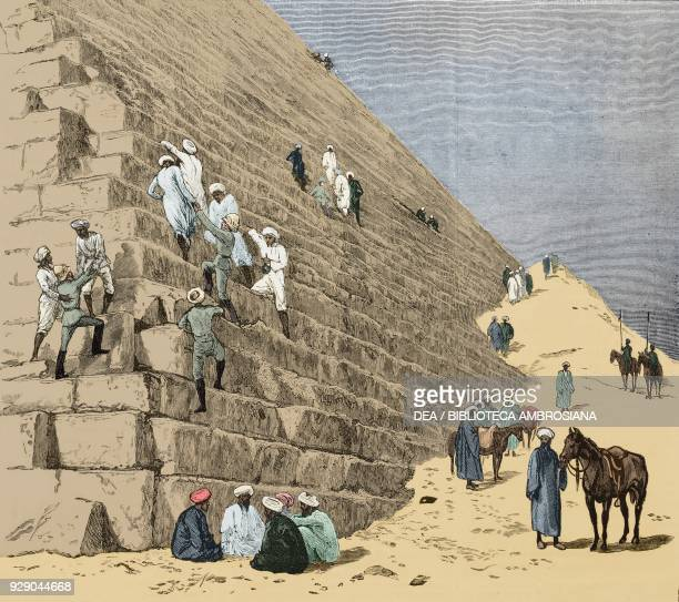 British soldiers climbing on the pyramid of Cheops Cairo Egypt illustration from the weekly Rivista Illustrata No 205 December 3 1882 Digitally...