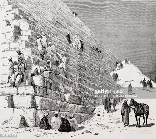 British soldiers climbing on the pyramid of Cheops Cairo Egypt illustration from the weekly Rivista Illustrata No 205 December 3 1882