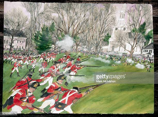 British Soldiers During a Reenactment of the Battle of Lexington by Franklin McMahon