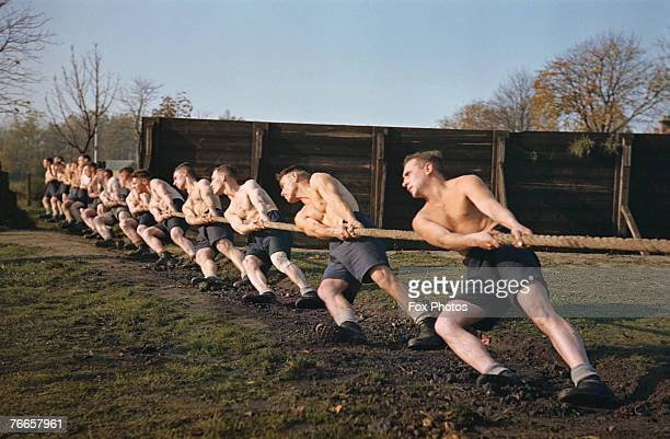 British soldiers engage in a tugofwar during training circa 1943