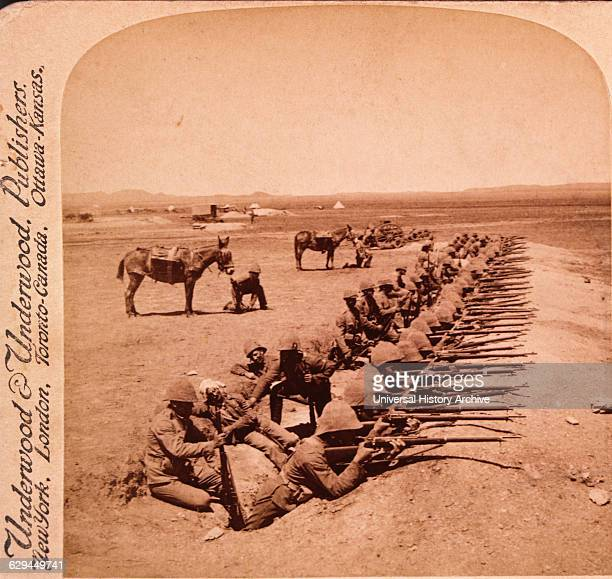 British Soldiers Firing on the Boers from Orange River Trenches South Africa Second Boer War Stereo Albumen Photograph circa 1900
