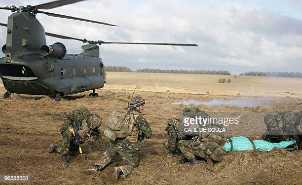 British soldiers from the 4th Mechanized Brigade take part in a training exercise on Salisbury Plain Wiltshire in southern England on February 9 2009...