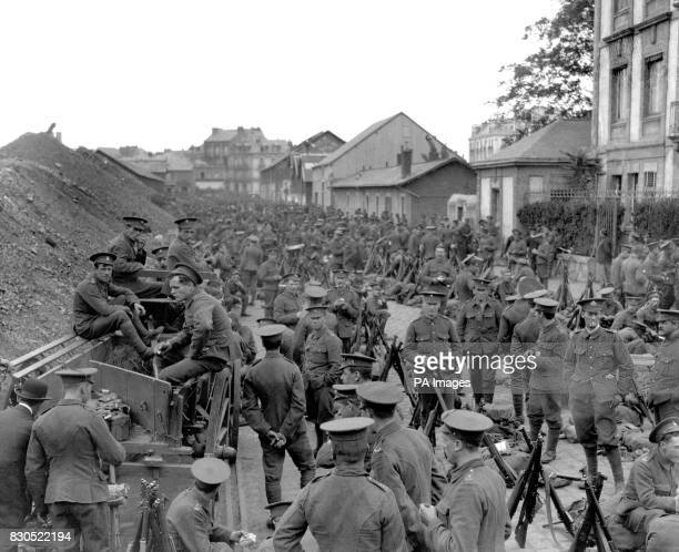 British soldiers from the Royal Welch Fusiliers and the Cheshire Regiment in a Belgian town on their way to Mons as part of the British Expeditionary...