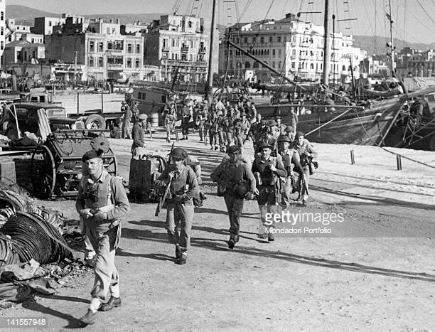 British soldiers going in single file to their locations after having landed at the port of Thessaloniki Thessaloniki November 1944