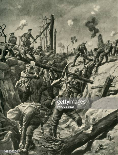 British soldiers in a German trench Western Front First World War circa 1915 'Consolidating a captured German Trench after the Great Attack British...