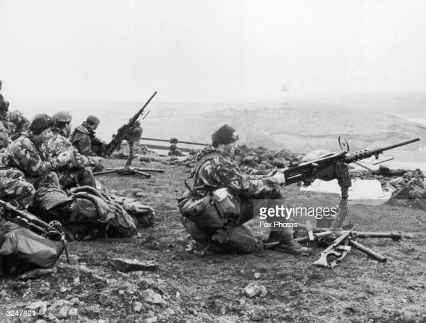 British soldiers in action during the Falklands War.
