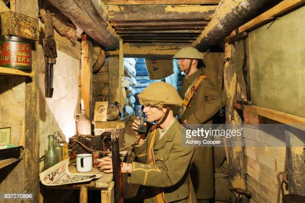 british soldiers in an underground bunker at the underground battle of the somme museum in albert, which is in the ancient tunnels that were by the townsfolk to shelter during the war, france. - ソム ストックフォトと画像
