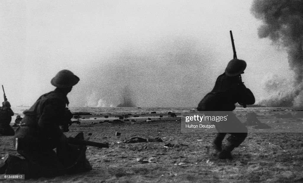 British soldiers in the rear guard try to protect others fighting their way to the coast at Dunkirk, France during an emergency retreat and evacuation of French and British soldiers in June 1940. Most of the force of 300,000 were rescued by small civilian boats and ferried to England.
