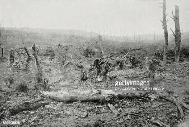 British soldiers in the rubble of a farm razed to the ground by the enemy France World War I from L'Illustrazione Italiana Year XLIV No 18 May 6 1917