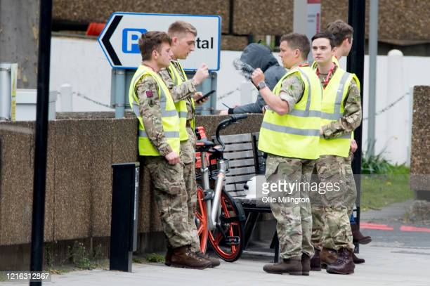British soldiers in uniform outside St Thomas' Hospital on March 31 2020 in London England British Prime Minister Boris Johnson announced strict...