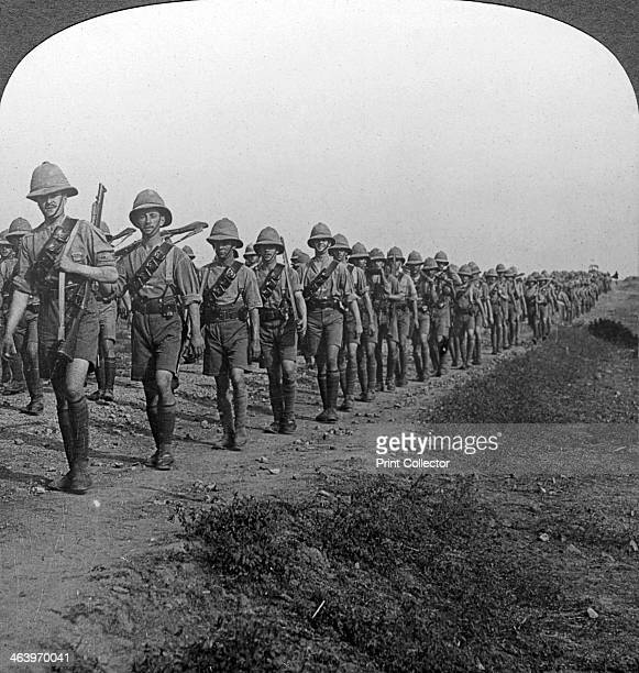 British soldiers marching through the desert to Baghdad World War I 19141918 The British captured Baghdad from the Turks in March 1917 Stereoscopic...