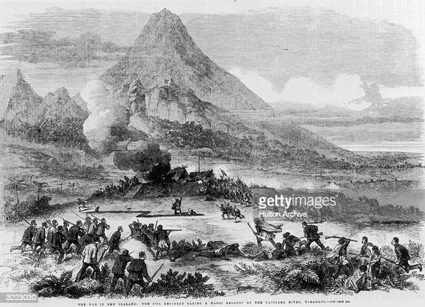British soldiers of the 57th Regiment taking a Maroi redoubt on the Katikara River Taranaki during the Maori Wars 1863