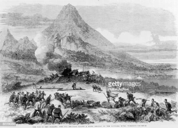 British soldiers of the 57th Regiment taking a Maroi redoubt on the Katikara River Taranaki during the Maori Wars 1863