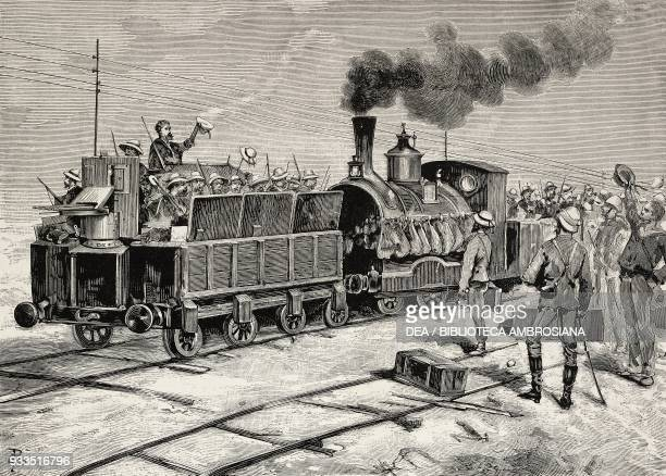 British soldiers on an armoured train Egypt engraving from L'IIllustrazione Italiana no 35 August 27 1882