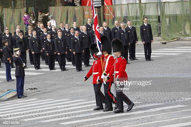 British soldiers parade on the Champs Elysees avenue in the annual Bastille Day military parade on July 14 in Paris France France has issued an...