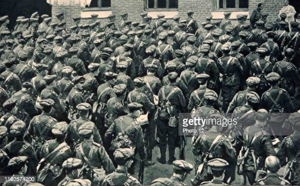 British soldiers prepare for transport from London to the battlefields during World War One 1914