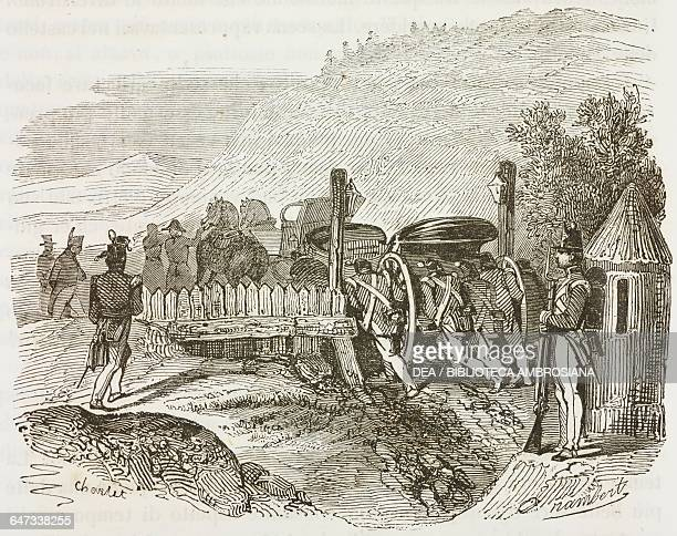 British soldiers pushing Napoleon Bonaparte's carriage out of a hole, St Helena Island, February 12 illustration from the first Italian edition of...