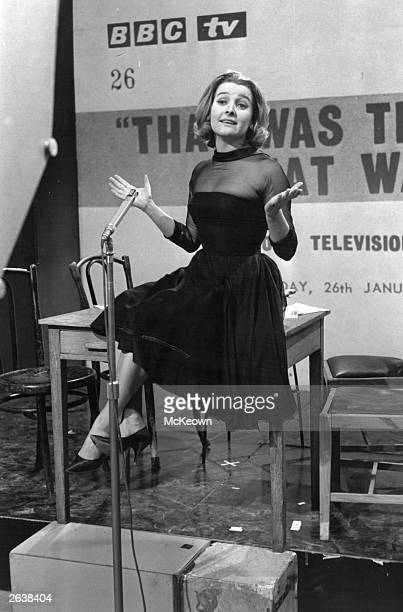 British songstress and actress Millicent Martin rehearsing for the BBC television programme 'That Was The Week That Was'