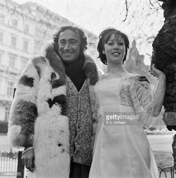 British songwriter Lionel Bart with actress and singer Terri Stevens, UK, 10th March 1973.