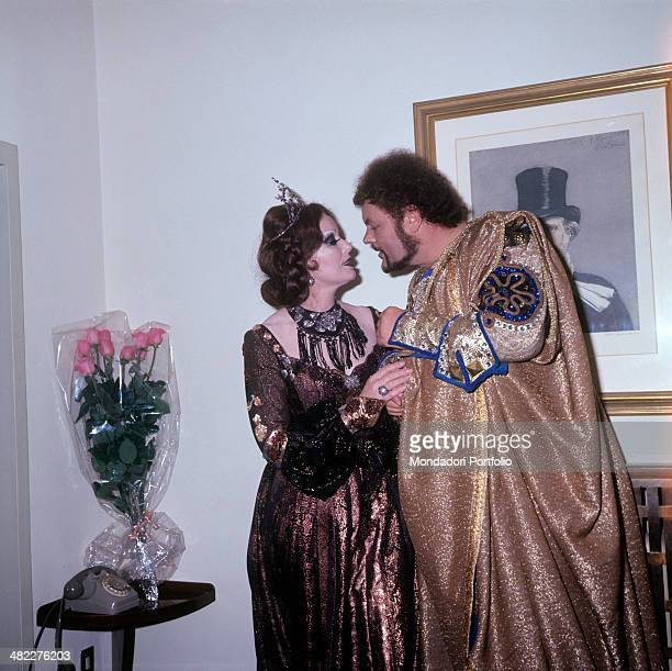 British soprano Gwyneth Jones and Italian bass and baritone Mario Petri performers of the opera Macbeth posing together wearing stage costumes...