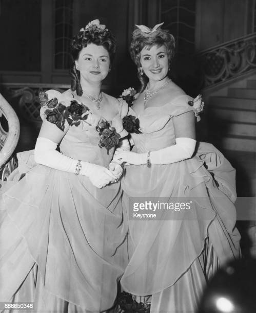 British soprano Marion Studholme and Australian soprano June Bronhill who both play the role of Adele in the Sadler's Wells production of Johann...