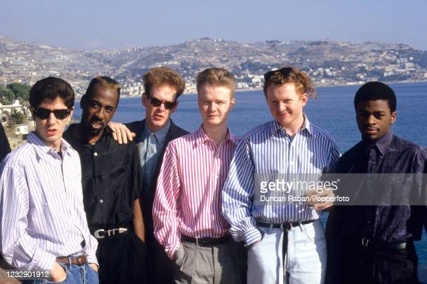British soul band Simply Red Chris Joyce, Fritz McIntrye, Tony Bowers, Tim Kellett, Mick Hucknall and Sylvan Richardson during the Golden Rose...